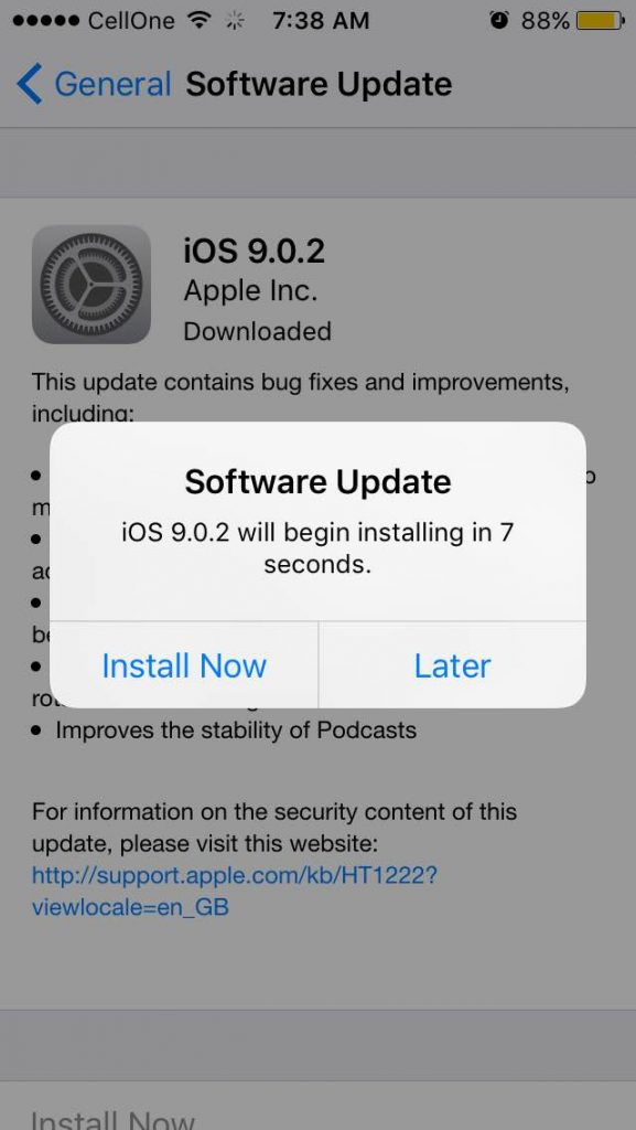 iOS 9.0.2 Install