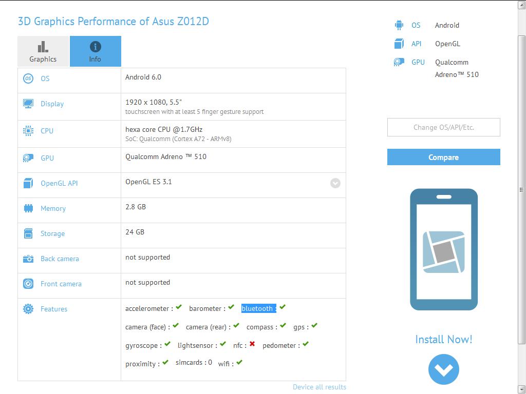 Asus Z012D Geekbench
