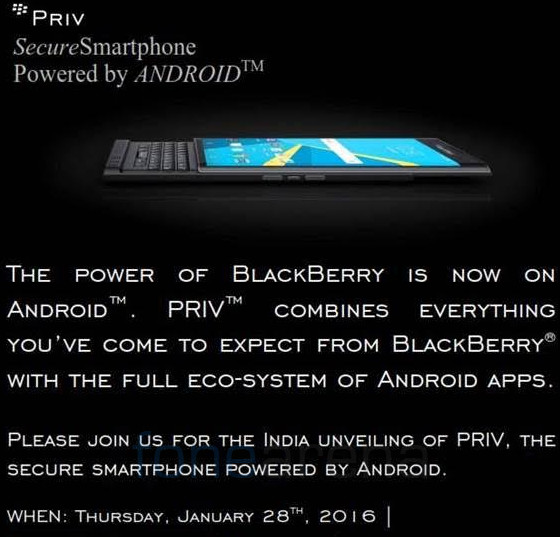 Blackberry Priv India Launch Teaser