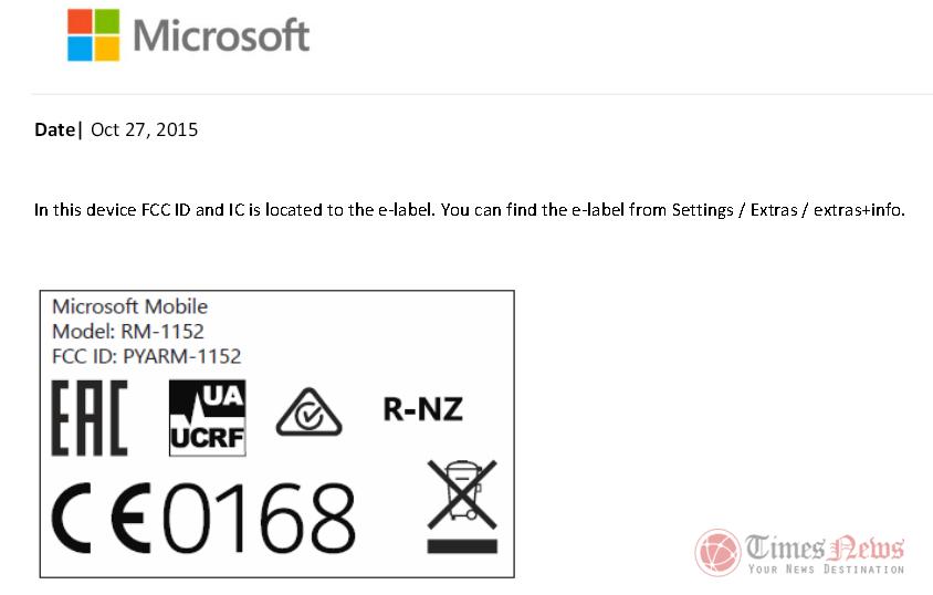 Lumia 650 RM-1152 FCC