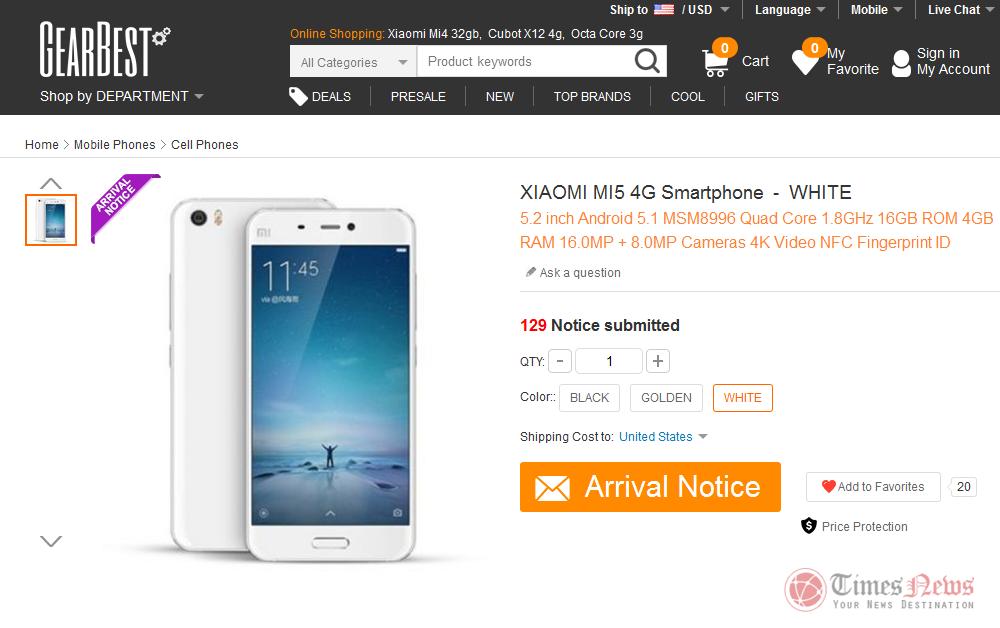 Xiaomi MI 5 Gearbest
