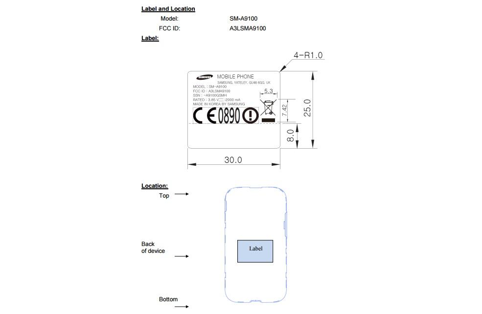 Samsung Galaxy A9 Pro (SM-A9100) FCC