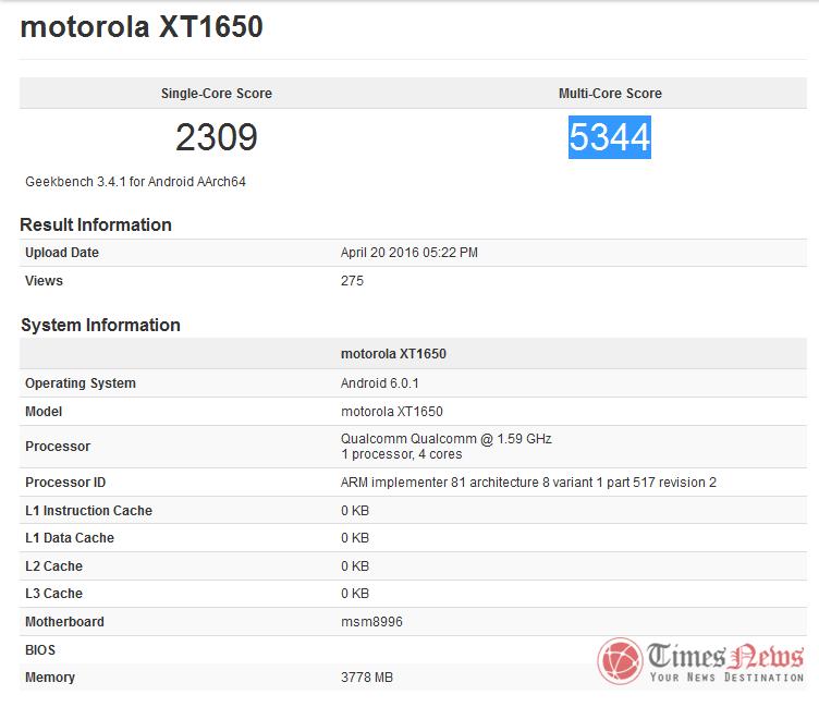 Motorola XT1650 Moto X 2016 GeekBench