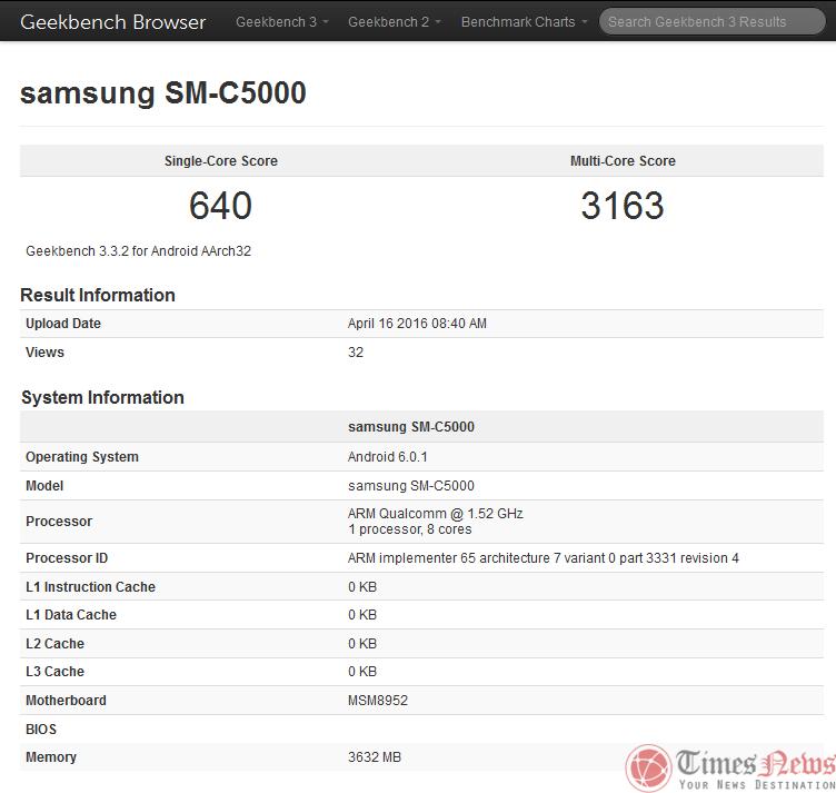 SM-C5000 (Galaxy C5) GeekBench