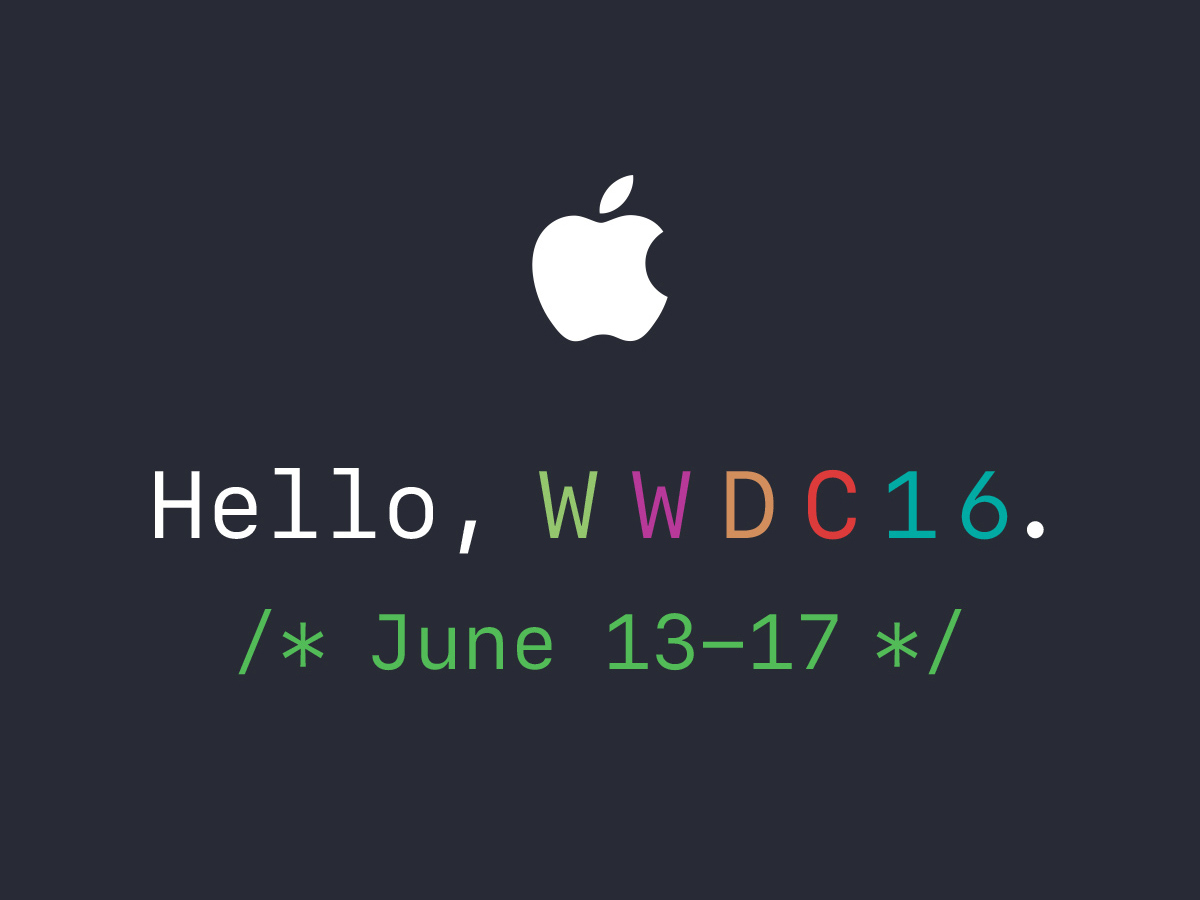 Apple WWDC 2016 event June 13-17