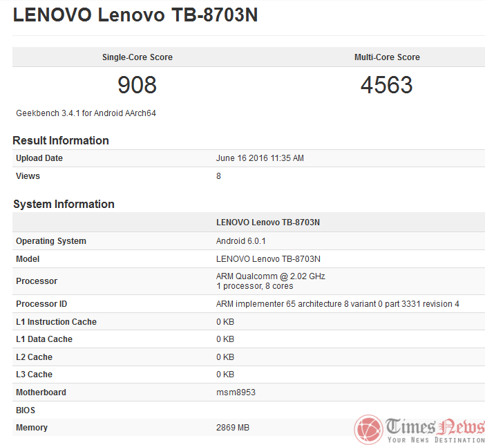 Lenovo TB-8703N GeekBench