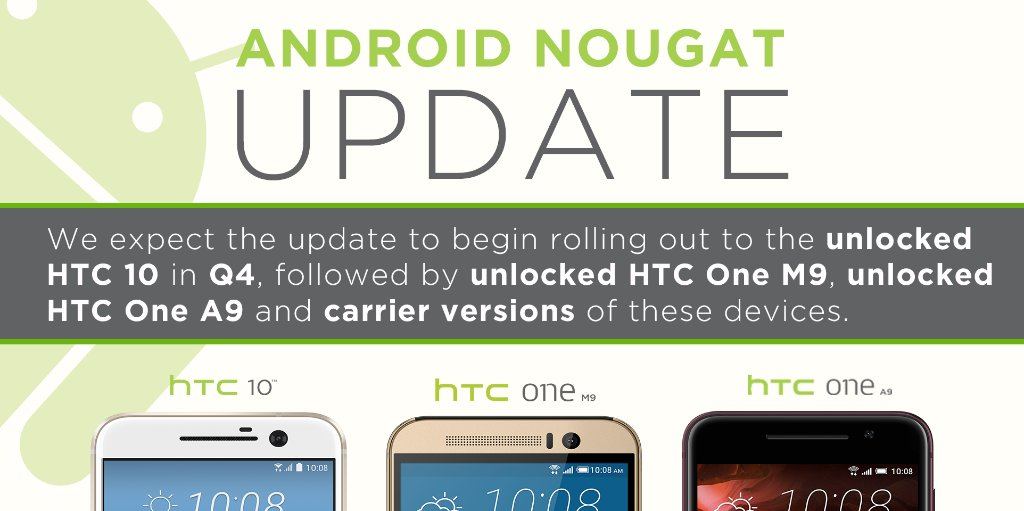HTC Android 7.0 Nougat update