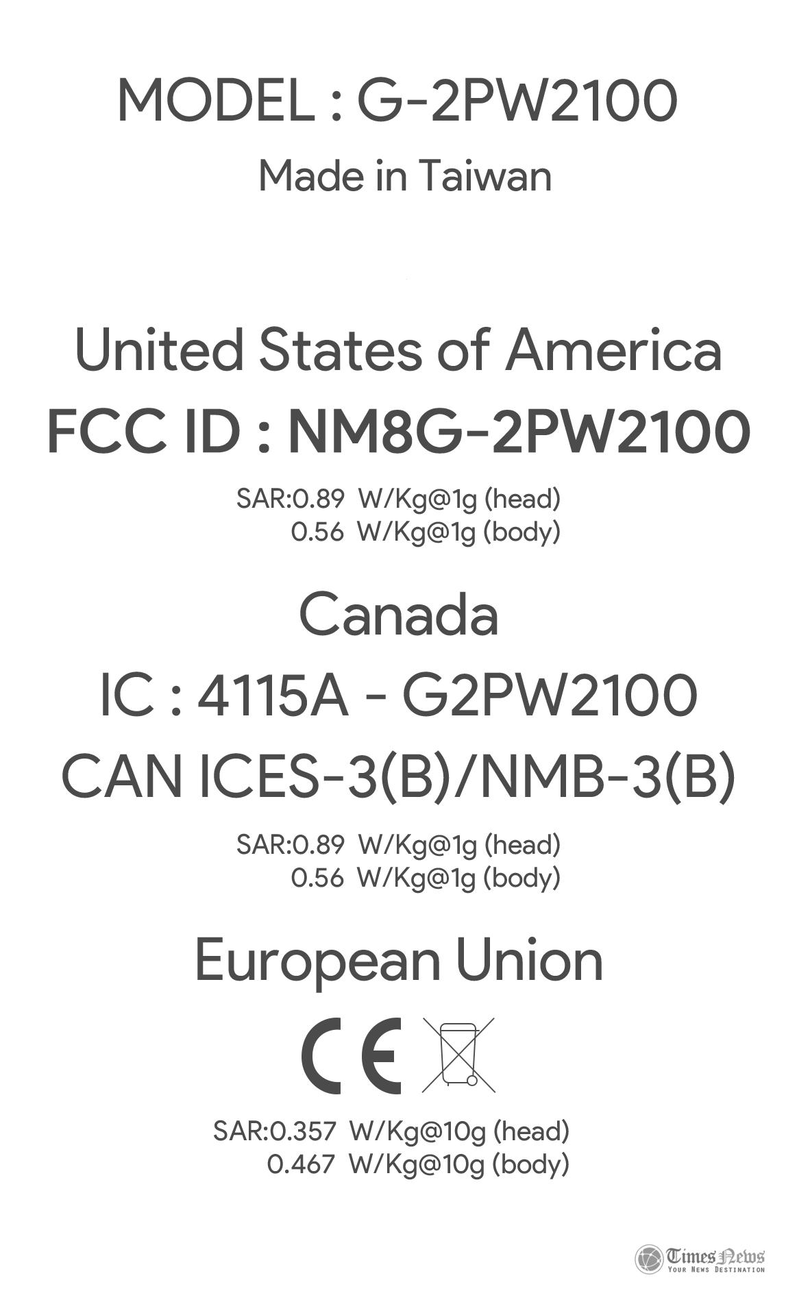HTC G-P2W2100 nexus FCC