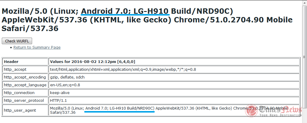LG V20 (LG-H910) running Android 7.0 Nougat