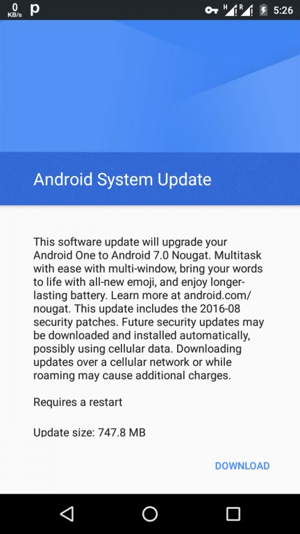 Android 7.0 Nougat update for Android One devices