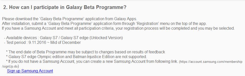 Galaxy Beta Program November 9