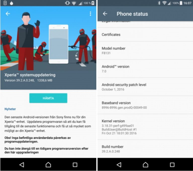 Sony Xperia X Performance Android 7.0 Nougat update