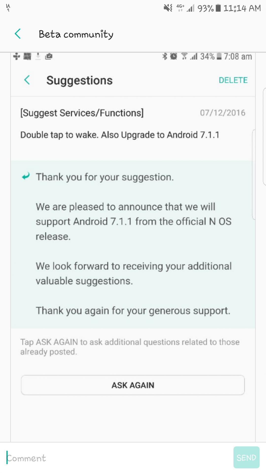 Android 7.1.1 update Samsung Galaxy S7