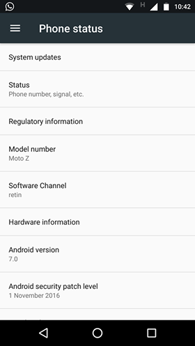Moto Z India Android 7.0 Nougat update