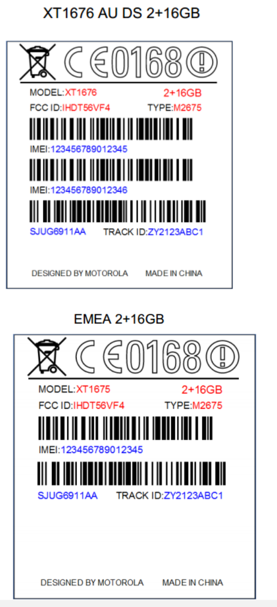 Motorola XT1675 and XT1676 FCC