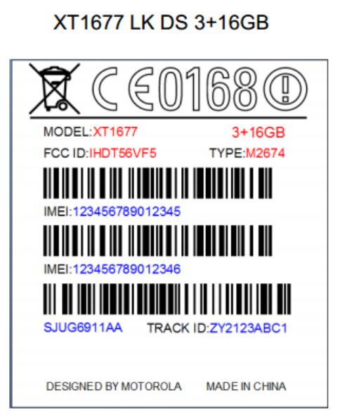 Motorola XT1677 FCC