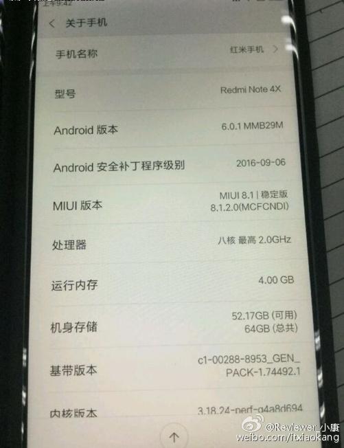 Xiaomi Redmi note 4X leaked