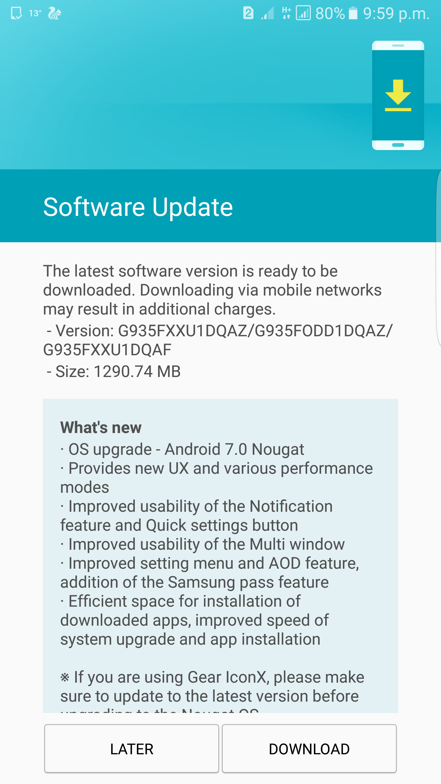 Galaxy S7 Edge Android 7.0 Nougat update