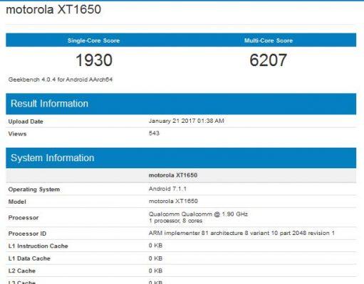 Moto Z 2017 XT1650 Geekbench