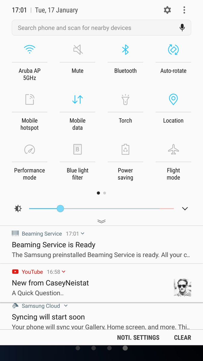 New Quick settings menu Android 7.0 Nougat update Galaxy S7 and S7 Edge