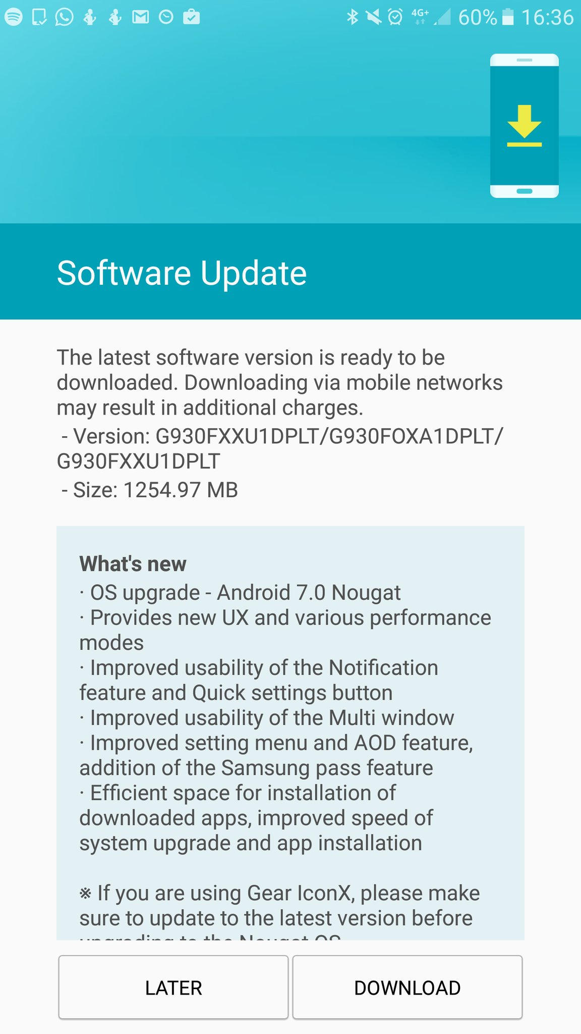 Samsung Galaxy S7 and S7 Edge Andropid 7.0 Nougat update UK