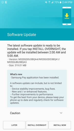Samsung Galaxy Note5 Samsung Pay update