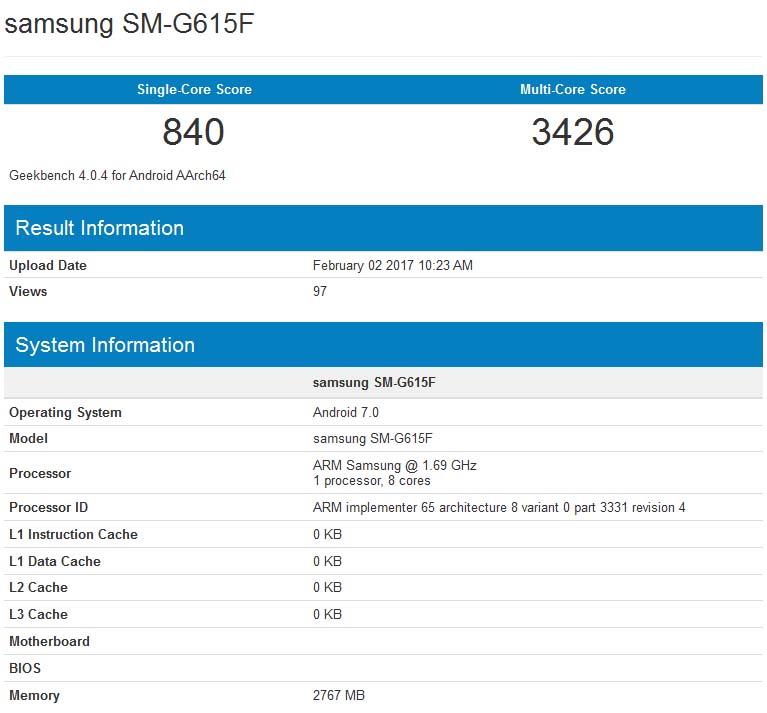 Samsung SM-G615F Geekbench